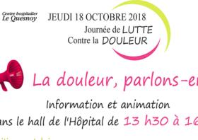 Jeudi 18 octobre 2018 : Journée de LUTTE contre la DOULEUR